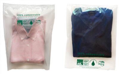Bolsas compostables para embolsado de ropa en tienda